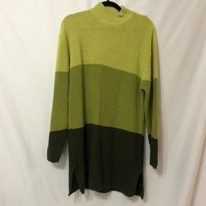 Vintage Forenza Green Colorblock Knit Long Sweater